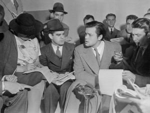 Welles fine-tuned his acting skills during an apologetic follow-up  press conference.  Photo courtesy of Corbis.
