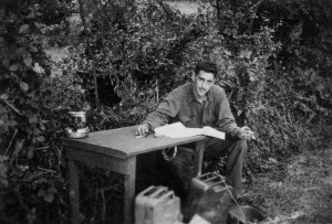 The only known photo of Salinger at work during WWII on The Catcher in the Rye. Photo courtesy: Denise Fitzgerald.