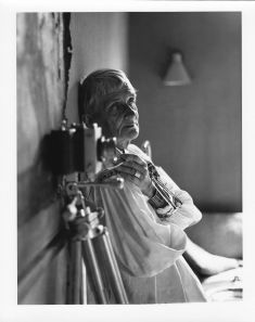 Dorothea Lange in her San Francisco Bay area home studio in 1964.  Photo courtesy Rondal Partridge Archives.