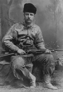 Theodore Roosevelt in his new buckskin suit, circa 1885.  Photo courtesy Library of Congress.