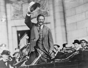 Theodore Roosevelt  thrived in the spotlight and the crowds loved him.  Photo courtesy Library of Congrress.