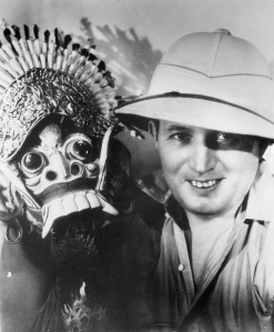 Robert Ripley in his signature pith helmet shows off a Balinese New Year's Festival Lion mask in 1932. Photo courtesy Ripley Entertainment Inc.