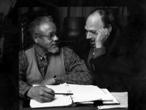 August Wilson (right) and his mentor Lloyd Richards (left).  Richards' directed Wilson's first six Broadway plays.  Photo:  The Yale Repertory Theatre.