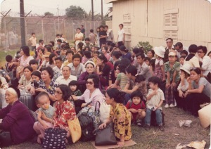 A crowd of South Vietnamese refugees waiting to be evacuated. Photo courtesy Stuart Herrington.
