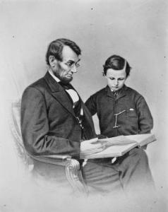 Thanks to diligent members of five generations of one American family, we are privy to this quiet moment shared by Abraham Lincoln and his beloved son, Tad. Photo: Meserve Kunhardt Foundation. Courtesy HBO.