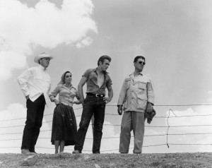 Elizabeth Taylor, James Dean and director George Stevens on the Marfa , TX, set, during the summer of 1955.