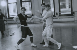 "American Ballet Theatre principal dancer and artistic director Mikhail Baryshnikov and Robert La Fosse (right) rehearsing with choreographer John McFall (center) in McFall's ballet ""Follow the Fleet,"" in 1983.  Photo: MIRA."