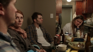 Friends gather round as Marianna Palka awaits her test results.  From left: Jason Ritter, Bryce Dallas Howard, Seth Gabel and Marianna Palka. Photo: Nick Higgins.  Courtesy HBO.