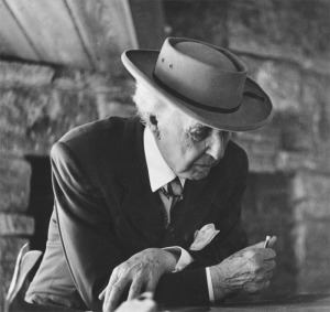 Architect Frank Lloyd Wright photographed by Pedro E. Guerrero at Usonia in Pleasantville, NY, in 1947. Photo: Pedro E. Guerrero Archives.