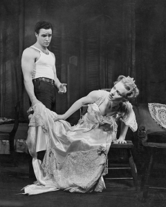 "Marlon Brando and Jessica Tandy in Brando's breakthrough Broadway performance in Tennessee Williams' ""A Streetcar Named Desire,"" circa 1947. Photo: CORBIS/SHOWTIME."