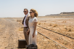 Daniel Craig and Léa Seydoux wait for a ride in SPECTRE. Photo courtesy Metro-Goldwyn-Mayer Pictures/Columbia Pictures/EON Productions.