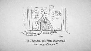 A Bob Mankoff New Yorker cartoon. Photo: Kristen Johnson. Courtesy HBO.