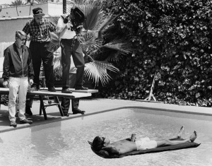 Dustin Hoffman floats, while Mike Nichols directs THE GRADUATE, circa 1967. Photo courtesy United Artists.