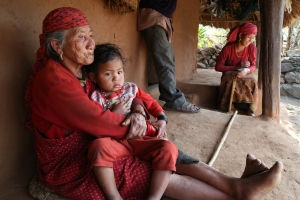 After sight-restoring cataract surgery, Manisara is able to see her grandchild, Gauri, for the first time. Photo courtesy HBO.