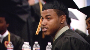 Krishaun Branch celebrates on his Urban Prep High School graduation day. Photo courtesy Tod Lending.