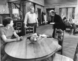 From left: Jean Stapleton, Carroll O'Connor, Norman Lear, Rob Reiner and Sally Struthers on the set of ALL IN THE FAMILY. Photo: CBS Photo Archive.