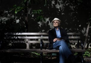 Norman Lear loves his family, his signature hat and his morning cup of coffee. Photo: Andrew Renneisen/The New York Times.