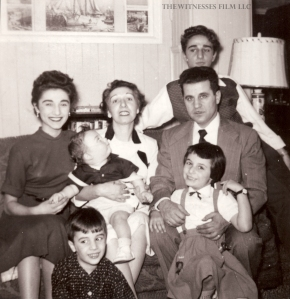 The Genovese family, circa early 1950s, from left: Kitty, Bill, Frank, Rachel, Vincent, Susan and Vinnie. Photo courtesy of The Witnesses Film, LLC.
