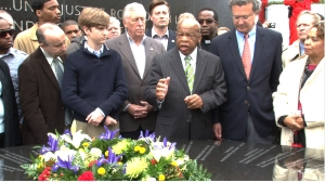 John Lewis at the Civil Rights Memorial in Montgomery, Alabama. Photo courtesy Early Light Productions.
