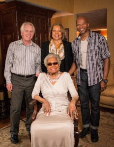 Dr. Maya Angelou with the film crew at her home in Winston-Salem, N.C., January 2014. From left, standing: co-directors and producers Bob Hercules and Rita Coburn Whack with D.P. Keith Walker. Photo: The People's Media Group, LLC.