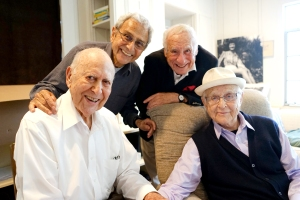 Three of these talented guys enjoyed close friendships well into their nineties. From left: Carl Reiner, George Shapiro, Mel Brooks and Norman Lear. Photo courtesy HBO.