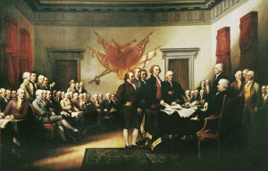 Congress adopts The Declaration of Independence in Philadelphia, PA, on July 4, 1776.