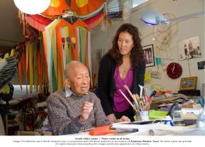 Filmmaker Pamela Tom and Tyrus Wong in his studio. Photo: Ildiko Lazslo.