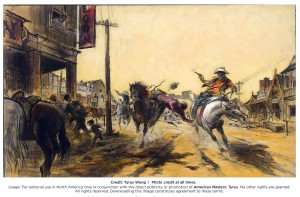 Tyrus Wong's pre-production illustration for Warner Brothers' THE WILD BUNCH (1969). Opaque watercolor and ink on board. Photo: Tyrus Wong.