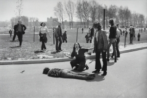 Mary Ann Vecchio kneels over the body of fellow student Jeffrey Miller, who was killed by Ohio National Guard troops during an anti-war demonstration at Kent State University on May 4, 1970. Photo courtesy John Filo/Getty Images.