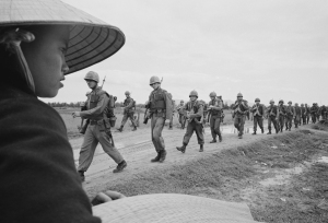 U.S. Marines marching in Danang, Vietnam, March 15, 1965. Photo courtesy Associated Press.