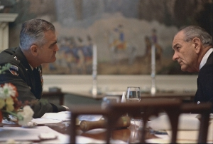 General William Westmoreland and President Lyndon B. Johnson, April 4, 1968. Photo courtesy Lyndon B. Johnson Presidential Library, Audiovisual Archives.
