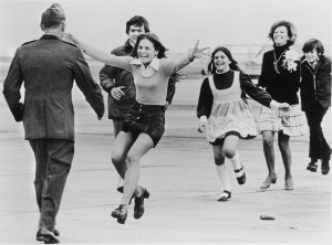 Released POW, Lt. Col. Robert L. Stirm, is greeted by his family at Travis Air Force Base, March 17, 1973. Photo courtesy AP Photo/Sal Veder.