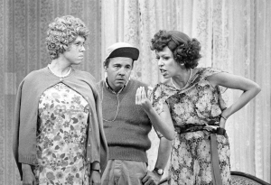 "Vicki Lawrence, Tim Conway and Carol Burnett go for the laughs in a classic ""Mama's Family"" sketch on THE CAROL BURNETT SHOW. Photo: CBS Broadcasting, Inc."