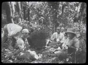 Theodore Roosevelt (right foreground), Candido Rondon and camaradas encamped during their joint American/Brazilian Amazonian expedition in 1914. Photo courtesy the Library of Congress.