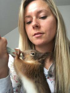 Sheelagh McAllister, Scottish SPCA's Head of Small Mammals, hand feeds Billy, an orphan red squirrel every hour. Billy's progress is documented in NATURE: A SQUIRREL'S GUIDE TO SUCCESS. Photo courtesy Sheelagh McAllister.