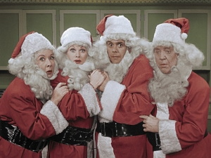 Faux or funny? This quartet is featured in the annual I LOVE LUCY CHRISTMAS SPECIAL broadcast on CBS. Photo ©2017 CBS Broadcasting, Inc. All Rights Reserved.