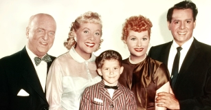 Legendary I LOVE LUCY cast members, from left: William Frawley, Vivian Vance, Richard Keith, Lucille Ball and Desi Arnaz.