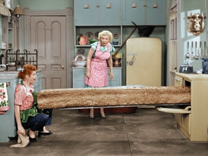 Too much yeast? Lucy Ricardo (Lucille Ball) and Ethel Mertz (Vivian Vance) have their hands full of dough in the newly colorized 1952 I LOVE LUCY episode, PIONEER WOMEN. Photo ©2017 CBS Broadcasting, Inc.