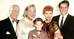"The beloved I LOVE LUCY ""family,"" from left: William Frawley (Fred Mertz), Vivian Vance (Ethel Mertz), Richard Keith (Little Ricky Ricardo), Lucille Ball (Lucy Ricardo), and Desi Arnaz (Ricky Ricardo)."