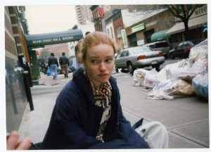 Stuyvesant HS student Liz O'Callahan was interviewed in a 9/11/01 news clip. She is also one of the eight alumni featured in IN THE SHADOW OF THE TOWERS. Photo courtesy HBO.