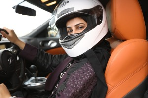 Competitive race car driver Amjad Al-Amri, featured in SAUDI WOMEN'S DRIVING SCHOOL, has her sights set on winning a world championship. Photo courtesy HBO.