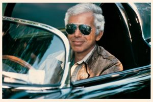 Man-about-town Ralph Lauren enjoying life in his fifties in one of his classic cars. Photo: Les Goldberg, courtesy HBO.