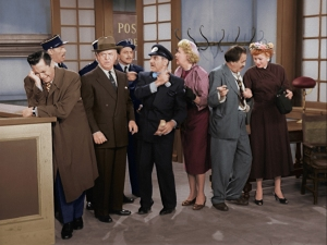 Lucy, Ricky, Fred and Ethel try to talk their way out of hard labor after they're arrested for passing counterfeit cash in PARIS AT LAST! The newly colorized episode of the I LOVE LUCY CHRISTMAS SPECIAL debuts on CBS. Photo: CBS ©2019 CBS Broadcasting, Inc. All Rights Reserved.