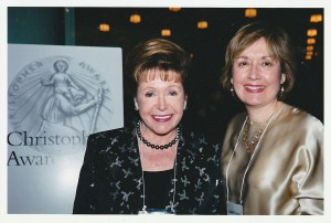 MARY HIGGINS CLARK with me JUDITH TROJAN, Director of the Christopher Awards, at the 54th annual Christopher Awards gala in Rockefeller Center, NYC, February 27, 2003. Photo: Paul Schneck.