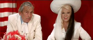 John Huston and Mae West in MYRA BRECKINRIDGE (1970).